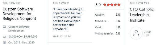 Catholic Leadership Institute's review of Buildable Custom Software on Clutch